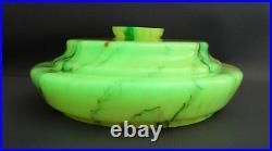 Art Deco Bohemian Loetz Vaseline Marbled Cased Glass Blue Smoky Slag Lamp Shade