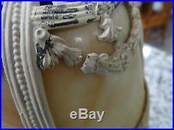 Art Nouveau 4 Panel Slag Glass Lamp Boudoir Dresser Leaded Cast Iron Vtg Antique