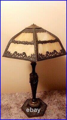 Art Nouveau Antique 1920 12 Panel Slag Glass Lamp Caramel Color Brass -24 Tall
