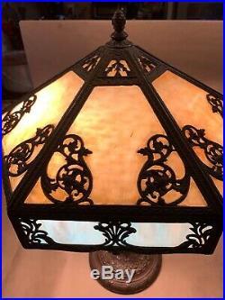 Art Nouveau Antique 1920's 12 Panel Slag Glass Lamp Working Gilbert