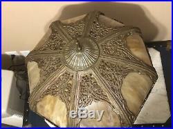 Art Nouveau Antique Lighted Base Slag Glass 8 Panel Table Lamp