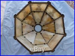 Art Nouveau Bradley & Hubbard, Miller Style Slag Glass Lamp, Light House Base