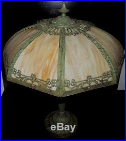 Art Nouveau Curved Slag Glass Lamp In Original Verdigris Paint Signed Rainaud
