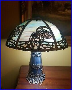 Art Nouveau Era Slag Stained Bent Glass Lighthouse Lamp, circa 1910, s