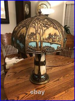 Art Nouveau Miller-b&h-handel- Era Carmel N Blue Slag Glass Lamp
