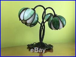 Art Nouveau Slag Glass Water Lily Desk Lamp