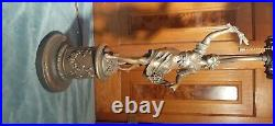 Art Nouveau lady slag glass newel post lamp circa 1900