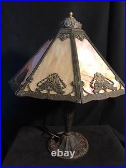 Art nouveau Signed Pittsburgh 20 shade/Handel era 8 panel slag glass lamp