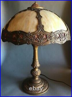 Arts And Crafts Salem 2 Color Slag Glass Lamp