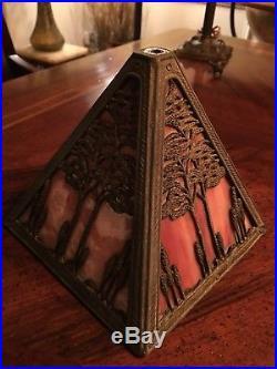 Arts And Crafts Slag Glass With Overlay Boudior Lamp, Handel, B&H, Tiffany Era