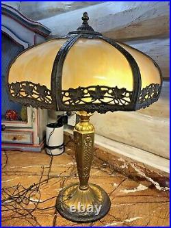 Arts & Crafts 8 Panel Slag Glass Shade & Brass Lamp