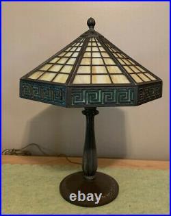 Arts & Crafts Antique Bradley and Hubbard Greek Key Slag Glass Desk Lamp