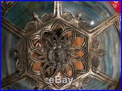 Arts Crafts Antique Vintage Slag Stained Glass Bradley Hubbard Handel Era Lamp