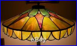 Arts & Crafts Duffner & Kimberly Leaded Slag Stained Glass Lamp Handel Era