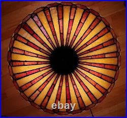 Arts & Crafts Leaded Slag Glass Prairie Style Lamp by R. Williamson Handel Era