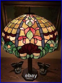 Arts Crafts Leaded Vintage Slag Glass Antique Lamp Bradley Hubbard Handel Era