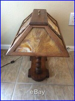Arts Crafts Mission Prairie Era Slag Glass Oak Lamp Bankers