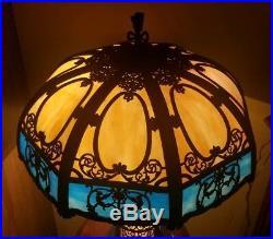 Arts & Crafts, Nouveau, B&H, Handel Era Lighthouse Slag Glass Lamp