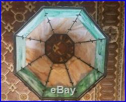 Arts & Crafts, Nouveau Bradley & Hubbard, Miller 2 colors Slag Glass Lamp