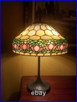 Arts & Crafts, Nouveau Documented Handel/Unique Co. Leaded Stained Slag Glass Lamp