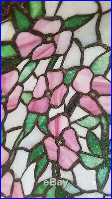 Arts&Crafts, Nouveau Floral Signed Chicago Mosaic Leaded Stained Slag Glass Lamp