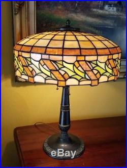 Arts&Crafts, Nouveau Handel, Bradley&Hubbard Leaded Stained Slag Glass Table Lamp