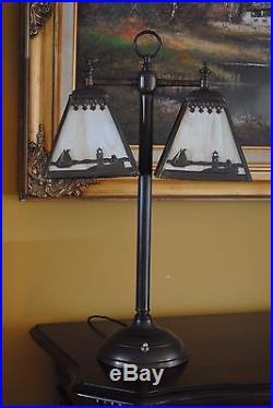Arts&Crafts, Nouveau, Miller, B & H, Handel Double Student Style Slag Glass Lamp