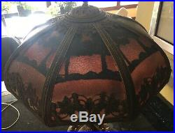 Arts & Crafts Nouveau Miller Reverse Slag Glass Lamp