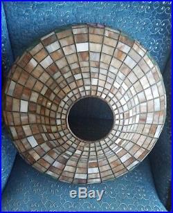 Arts&Crafts, Nouveau, Signed Handel Leaded Stained Slag Glass Mushroom Table Lamp