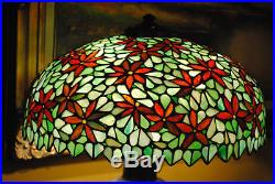 Arts&Crafts, Nouveau, Signed Handel Leaded Stained Slag Glass Table Lamp