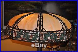 Arts & Crafts, Nouveau Signed Handel Oak Leaves & Acorns Slag Glass Lamp