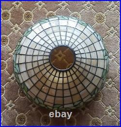 Arts & Crafts, Nouveau Unique/Handel Lamp Co. Leaded Stained Slag Glass Lamp