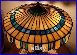 Arts & Crafts Prairie Style Gorham Leaded Slag Stained Glass Lamp Handel Era