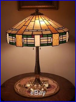 Arts & Crafts R Williamson Leaded Slag Stained Glass Lamp Handel Tiffany Era