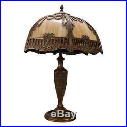 Arts & Crafts Two Toned Filigree Panel Slag Glass Table Lamp, circa 1920