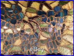 Arts crafts leaded slag glass antique hanging lamp shade Bradley hubbard Handel