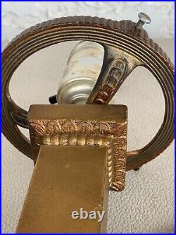 Arts crafts mission Metal slag glass Antique lamp handel bradley hubbard era NR