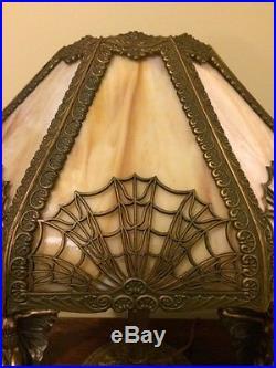 Arts crafts slag glass antique vintage bradley hubbard handel era panel lamp nr