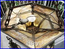 Atq Brass Arts & Crafts Stained Glass Slag Glass Wide Brass Filigree Chandelier