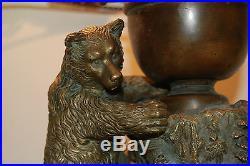 Austrian Russian Bronze Slag Glass Arts Crafts Black Forest Cigar Lighter Lamp