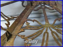 Authentic Antique Arts & Crafts Art Nouveau Slag Glass Bronze Lamp Shade 13
