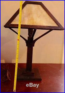 Authentic Arts and Crafts Mission SLAG GLASS LAMP original parts & finishes GOOD