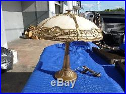 Authentic Stately Large Bradley And Hubbard Slag Glass Lamp