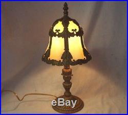 BEAUTIFUL Old Antique 6 Panel CARAMEL SLAG Bent GLASS Electric BOUDOIR LAMP