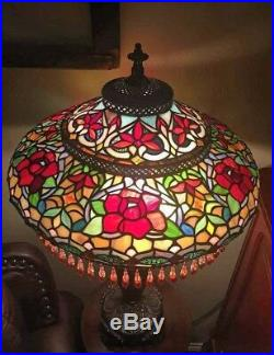BREATHTAKING Antique Beaded Tiffany Style Jeweled Leaded Slag Stained Glass Lamp