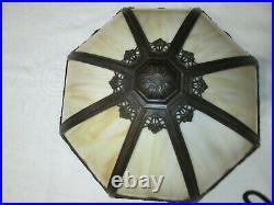 B & H Antique Slag Glass 16 Panel Electric Table Lamp