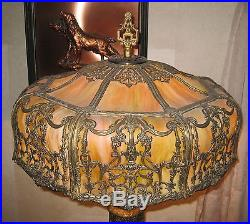 Beautiful ART NOVEAU 16 Panel Green Bent SLAG GLASS LAMP Excellent Condition