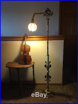 Beautiful Antique 1930s Green Slag Vaseline / Jadeite Glass Art Deco Floor Lamp