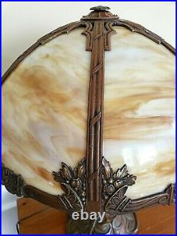 Beautiful Antique Art Nouveau Stained Slag Glass 6 Panel Table Lamp