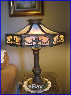 Beautiful French Empire Antique Arts & Crafts Slag Glass Dbl Socket Table Lamp
